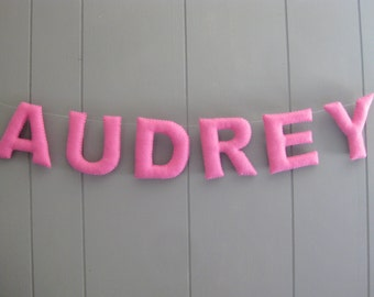 Personalized Nursery Garland Bunting Felt Name Banner / Custom Baby Gift Decor / Hanging Wall Letters / Children's Room Sign - One Color