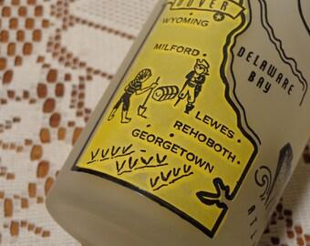 Vintage Delaware Frosted Tumbler -  Delaware Barware Souvenir Glass  - 15-748