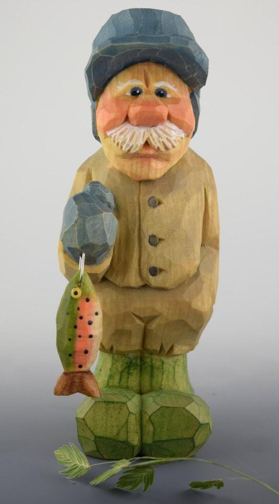 Wood carving nordic gnome elf fisherman caricature