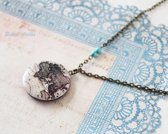 World Map Locket Necklace. Vintage Style Locket Necklace. Photo Necklace. Photo Locket. Geography. Gift For Her (LN-22)