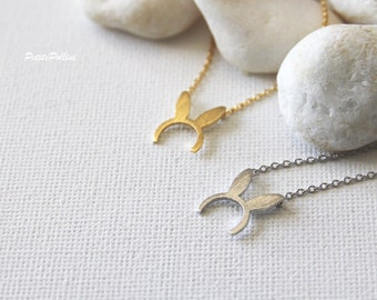 Bunny Ears Necklace in Silver/ Gold. Collarbone Necklace. Party Necklace. Cute Jewelry. Birthday Gift. Gift For Girls (PNL-147)