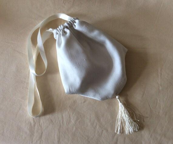 Regency Reticule,Bag. Victorian. Jane Austen. Ivory Faux Silk.