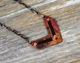 Vintage License Plate Chevron Necklace in Brown.  Fired Copper - Penny Roads - ReaganJuel