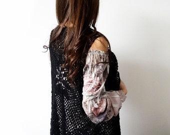 Black Fringe Vest, Women's Vest, Crochet Vest, Black Boho Vest
