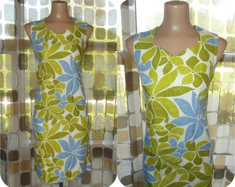 Vintage 60s Dress   1960s Hawaiian Dress   Psychedelic Flowers Barkcloth   Mod Mini Dress   VHY Textiles Hawaii   Conrad Von Hamm