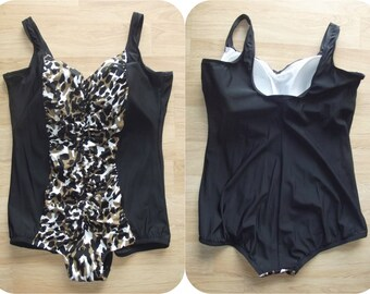 Plus Size Swimsuit | Leopard Print Swimsuit | Ruched Full Cut | One Piece | Retro 50s Pin-Up | Roakcbilly Animal Print | Catalina | Size 24