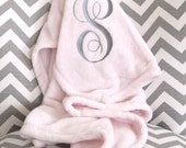 Personalized Baby Blanket - Plush Blanket - Pink Baby Blanket - Monogram Blanket - New Baby Gift - Christening Gift, Girl Nursery Decor