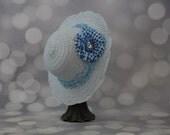 Tea Party Hat; Blue Easter Bonnet with Satin Ribbon; Girls Sun Hat; Blue Easter Hat; Sunday Dress Hat; Derby Hat; 16229