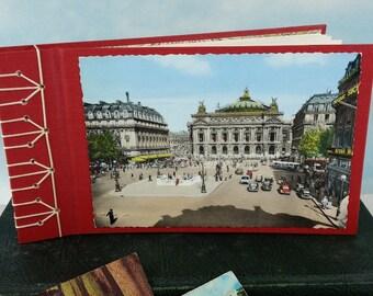 Paris France Travel Journal Photo Album with Vintage Paris Postcard on Stitched Cover