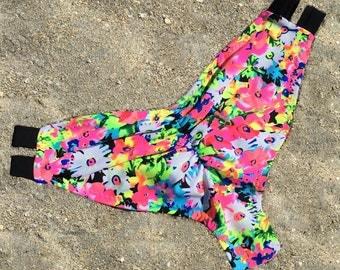 Banded Scrunch Bottoms in Neon Floral || Cheeky || Custom || Swim || Swimwear || Bikini || Festival Wear