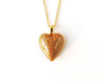 Gold Colour Heart Necklace, Tiny Gold Beads Resin Pendant, Gold Colour Jewellery, Heart Jewellery, Resin Jewelry Jewellery, UK, 2149