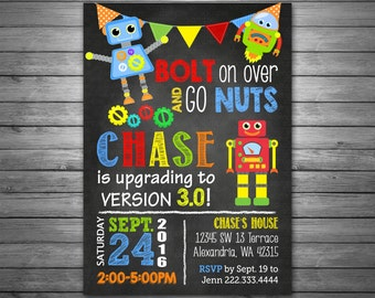 Robots Birthday Invitation, Printable File, Chalkboard Invitation, Cute Robots, Banner, Chalk, Robots Birthday Party