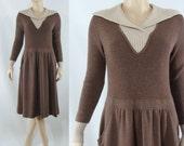 Vintage Seventies Dress - 1970s Brown Wool Dress - 70s Ciao Ltd Dress - Medium Wool Dress