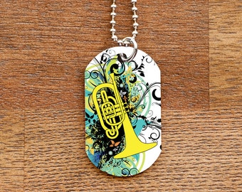 Mellophone Dog Tag Necklace for Band Geeks