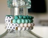 Custom Name Bracelet // Personalized Bracelet // Handmade Jewelry // Blush Pink Beaded Stretch Bracelet // Women's Gift Idea //