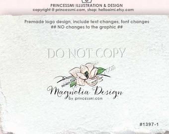 1397-1 , Magnolia Logo Design , premade logo, Custom logo, photography logo, boutique logo, watermark, illustrated floral