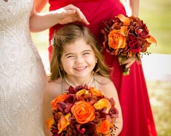 Autumn Wedding bouquet Bridal bouquet red orange brown orchids calla lilies
