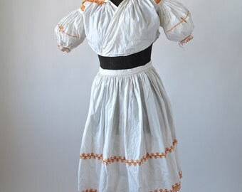 Czech Apron and Blouse Antique White Cotton Puff Sleeved Folk Costume Orange Embroidery