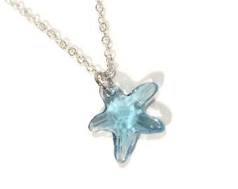Aquamarine Swarovski Starfish Pendant with Silver Chain