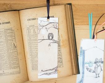 Tea for the Owl in the Moonlight Bookmark - Owl tea illustration art bookmark with hand-tied ribbon