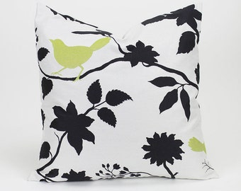 Black, White and Chartreuse WOVEN TAPESTRY Bird Throw Pillow Cover - 18 inch