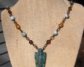 Boho Green Spotted Jasper Arrowhead Necklace