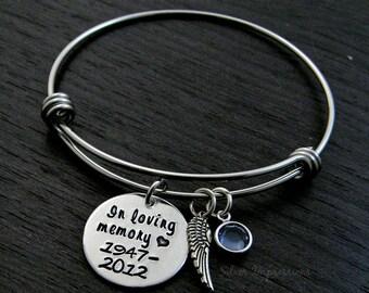 In Loving Memory Charm Bracelet / Wire Bangle / Remembrance Bracelet / Wire Bangle Bracelet / Angel Wing