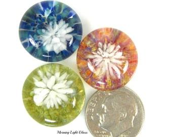 Dainty Florals Glass Cabochon Trio Set - Boro Lampwork Beads
