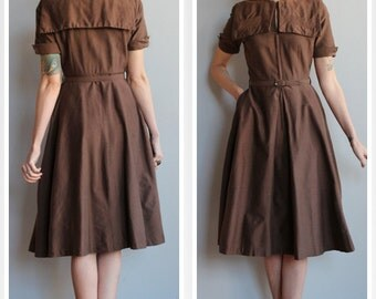 1940s Dress // Hope Reed Twill Dress // vintage 40s dress