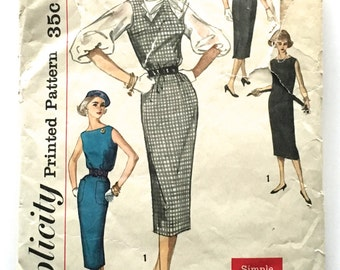 50s Simplicity 2390 Wiggle Sheath Jumper and Blouse Sleeveless, V back  - Size 13 Bust 33