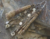 TWIGS / Handmade Paper Twigs + 1930's Glass Pearl Medallions and Poppies + Carved Shell + Metal Charms + Assortment of Delicate Chains