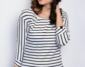 maritime jersey shirt - black/white stripes
