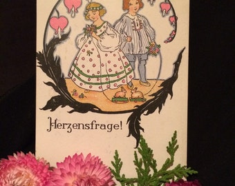 German Edwardian Postcard - Pink Bleeding Heart Flowers - Pink - Girl and Boy  - Rabbit Toy