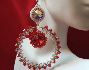 Red and White Crystal Hoop Earrings