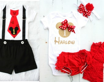 Mickey Mouse & Minnie Mouse Baby Boy Baby Girl Twins Birthday, Summer 4th of July Outfits. Personalized Bodysuits, Leggings, Bloomers, bow