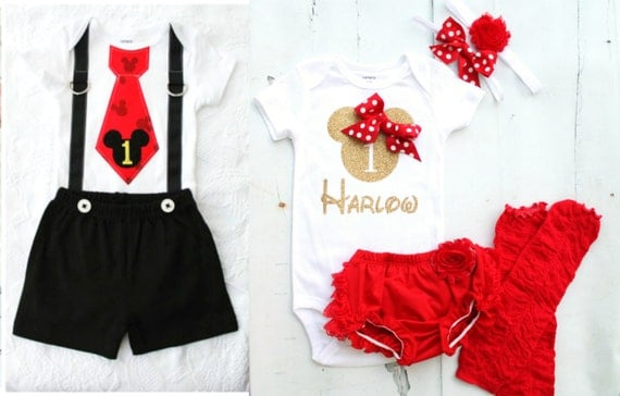 Mickey Mouse & Minnie Mouse Baby Boy Baby Girl Twins Birthday, Summer 4th  of July Outfits. Personalized Bodysuits, Leggings, Bloomers, bow - Mickey Mouse & Minnie Mouse Baby Boy Baby Girl Twins Birthday