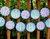READY TO SHIP Red Haired Little Mermaid Birthday Banner Mermaid Banner Purple Teal Mermaid Party Under The Sea Party Mermaid Decoration