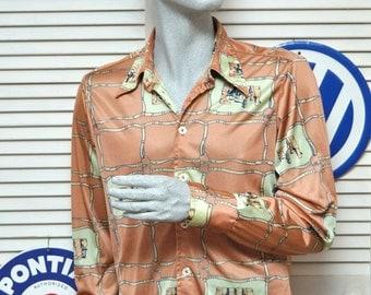 Vintage Mens Dress Shirt/Givenchy for Chesa/Urban Cowboy Western Boot Print/Long Sleeve button front/70's Disco Medium Nylon/Costume