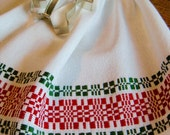 Handwoven Tea Towel, Woven Hand Towel, Red and Green, Swedish Dish Towel, Woven Kitchen Towel, Chef Towel, Hostess Gift, Hand Woven Towel