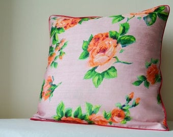 Beautiful Rose Print on Pink Pillow Cover , Pale Pink Rose Print Floral Cushion Cover , Pink Roses Decorative Pillow ,  Spring Florals