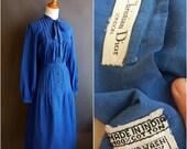 Christian Dior dress 1970s-early 80s 'Christian Dior-London New York' 70s 1980s indian cotton madras dress secretary dress chambray dress
