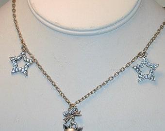 Vintage Rhinestone Cat & Stars Necklace