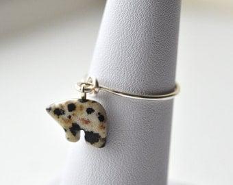 Bear Ring, Stacker Charm Ring, Gemstone Ring, Dalmatian Jasper, Thin Ring, Jewellery UK