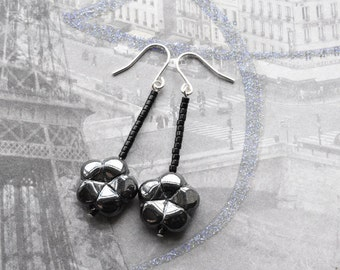 Black Flower, Sterling Silver Earrings, Czech Glass Earrings,  Floral Earrings, Jet Black Gunmetal, Gothic Jewellery, UK Earrings