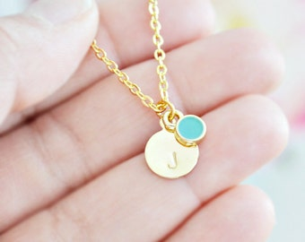 Personalized Letter Necklace with Enameled Bezel Drop Charm - Custom Initial - Gold and Silver Options