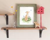 Woodland Nursery Art, Fox Art Print, Watercolor Fox Art, Woodland print, Children's Wall Art, fox nursery art, Forest Nursery Decor wall art