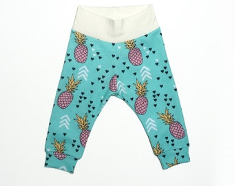 LIMITED EDITION// Pineapple print baby leggings, baby girl clothes, baby gifts, modern baby girl leggings, blue, pink, yellow, ready to ship