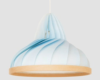 NEW: paper and wood lamp Wave pastel blue