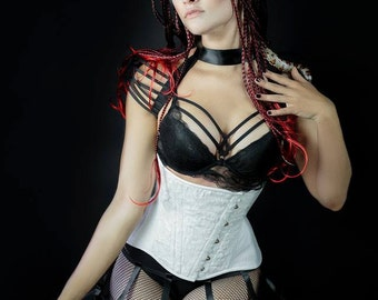 White velvet feather effect underbust boned cinched corset with white leather