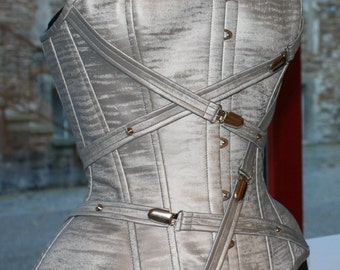 Silver Grey PVC overbust boned cinched corset with chrome buckles and PVC straps detail